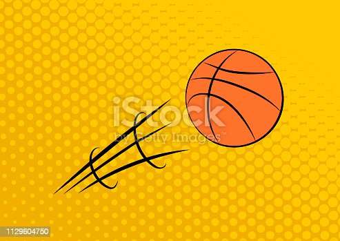 istock Flying basketball. Pass. Yellow dotted background. Vector illustration 1129604750