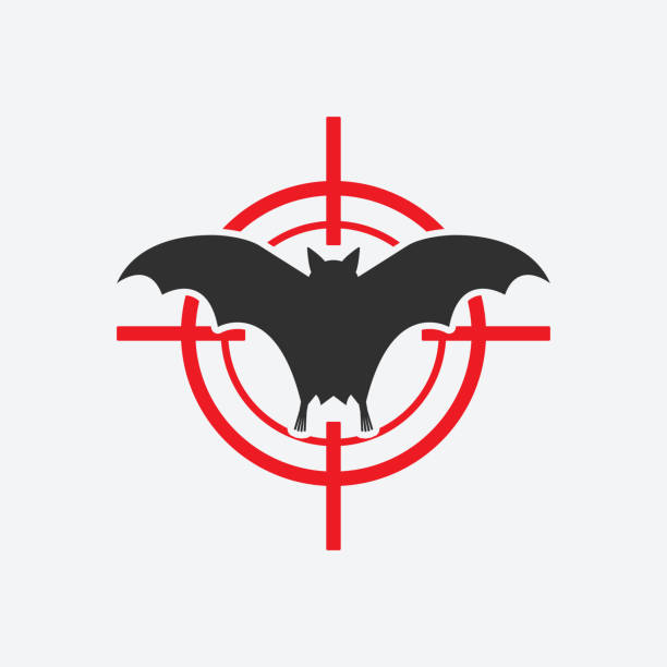 Flying bat icon red target. Insect pest control sign vector art illustration