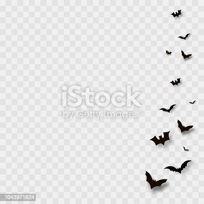Flying bats on transparent background. Vector
