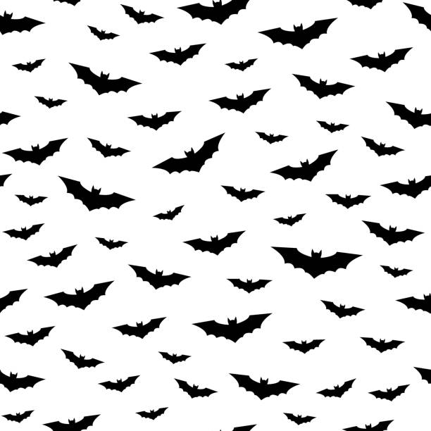 flying bats seamless pattern - bat stock illustrations, clip art, cartoons, & icons