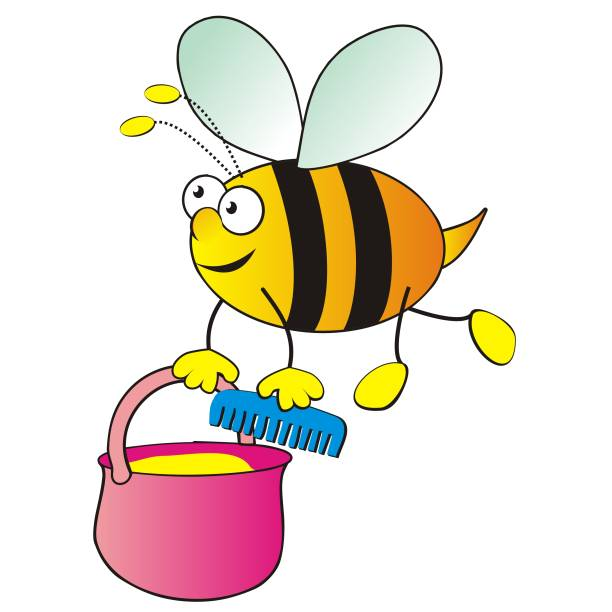 Flying bee and bucket and comb Flying bee and bucket and comb, funny vector illustration. bee clipart stock illustrations