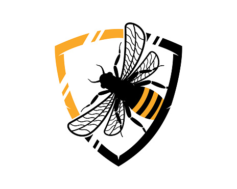 Flying bee in the shield