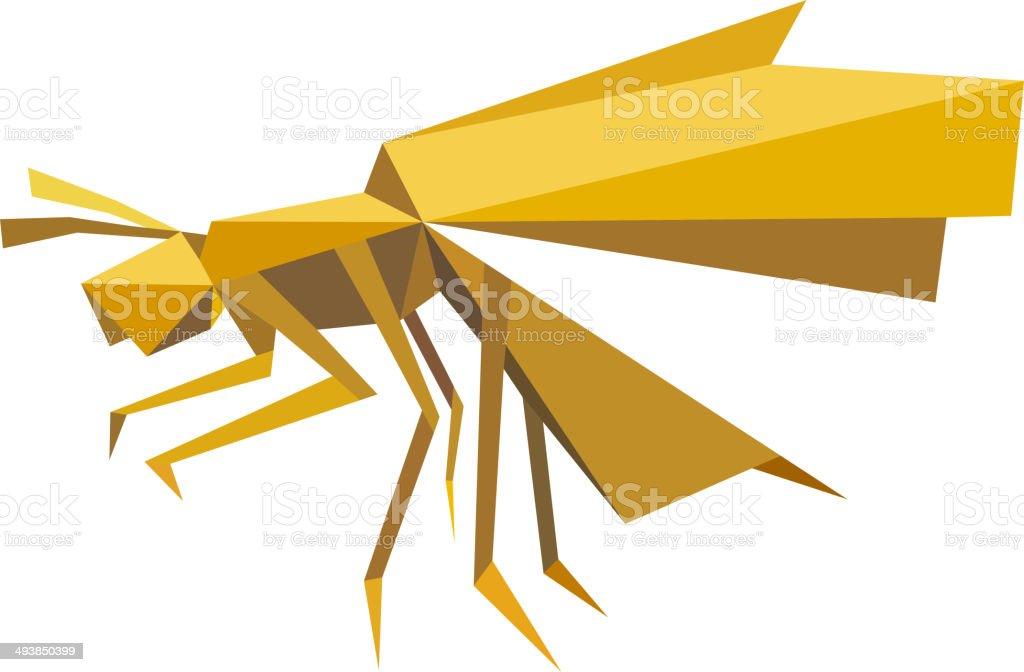 Fliegende Biene Blatt Im Origamistil Stock Vektor Art Und Mehr
