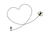 Bee flying along a heart shaped dotted route