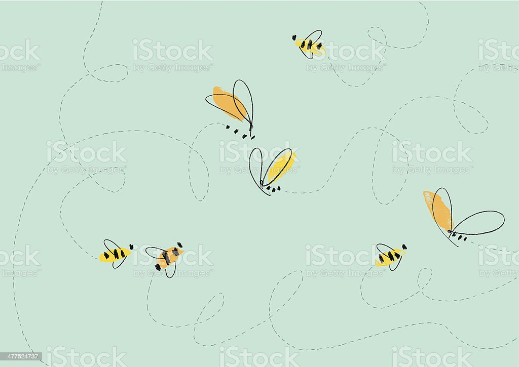 Flying Bees Illustration vector art illustration