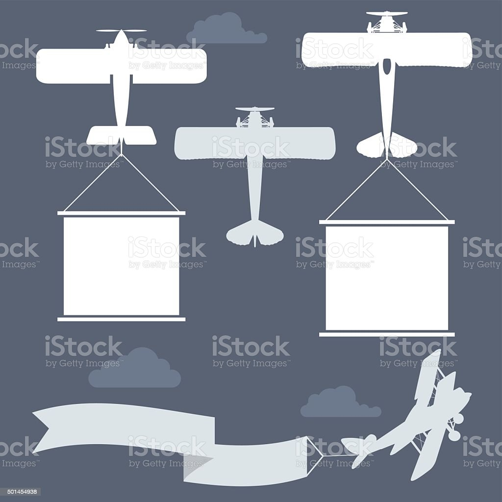 Flying biplanes with blank greetings banner vector art illustration