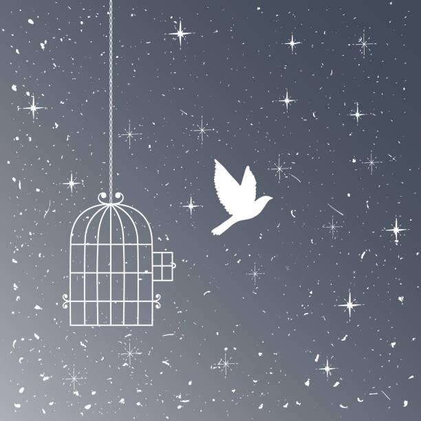 fliegenden vogel und käfig silhouetten. freiheit-konzept - zigeunerleben stock-grafiken, -clipart, -cartoons und -symbole