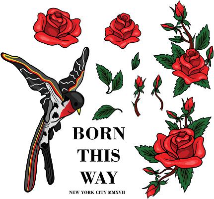Flying bird and red roses stickers for embroidery or print elements.