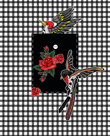Flying bird and red roses stickers for embroidery or print elements. Design for pocket.