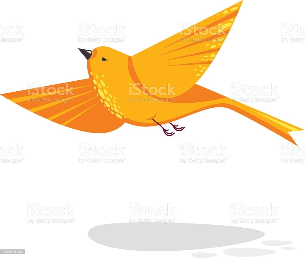 Flying Bird Flat Style Illustration Geometrical Design Cute Animal ...