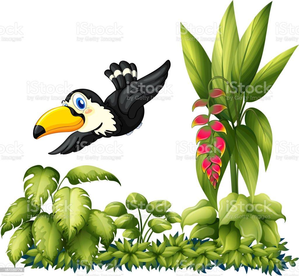 Flying bird in the garden vector art illustration