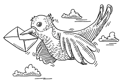 Flying Bird Letter Delivering Drawing