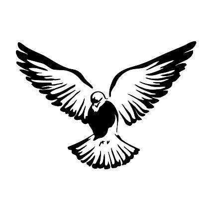 Flying bird logo. Black and white graphics.