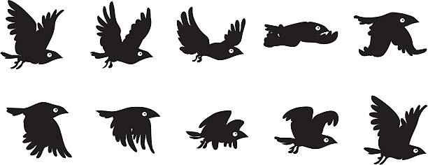 Flying bird sequence Flying bird sequence flapping wings stock illustrations