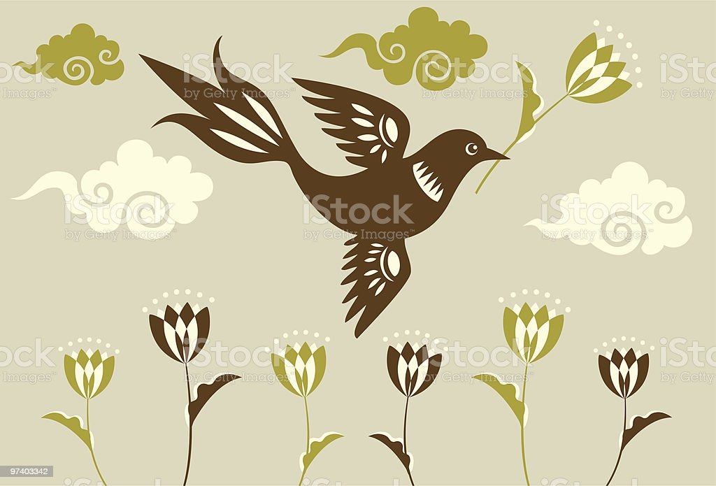 Flying Bird, Tulips & Clouds royalty-free stock vector art