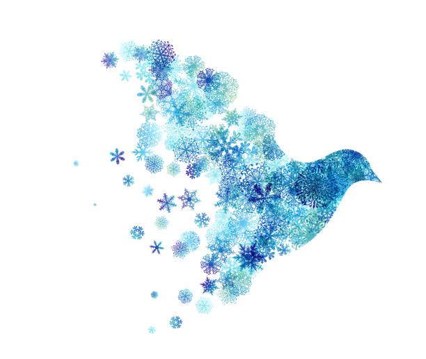 ilustrações, clipart, desenhos animados e ícones de pássaro de vôo com asas dos flocos de neve. - harmonia