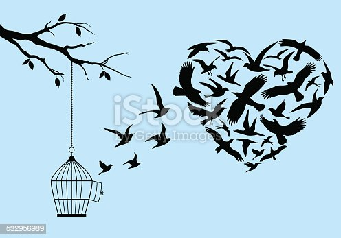 flying birds in heart shape with birdcage and tree, vector illustration