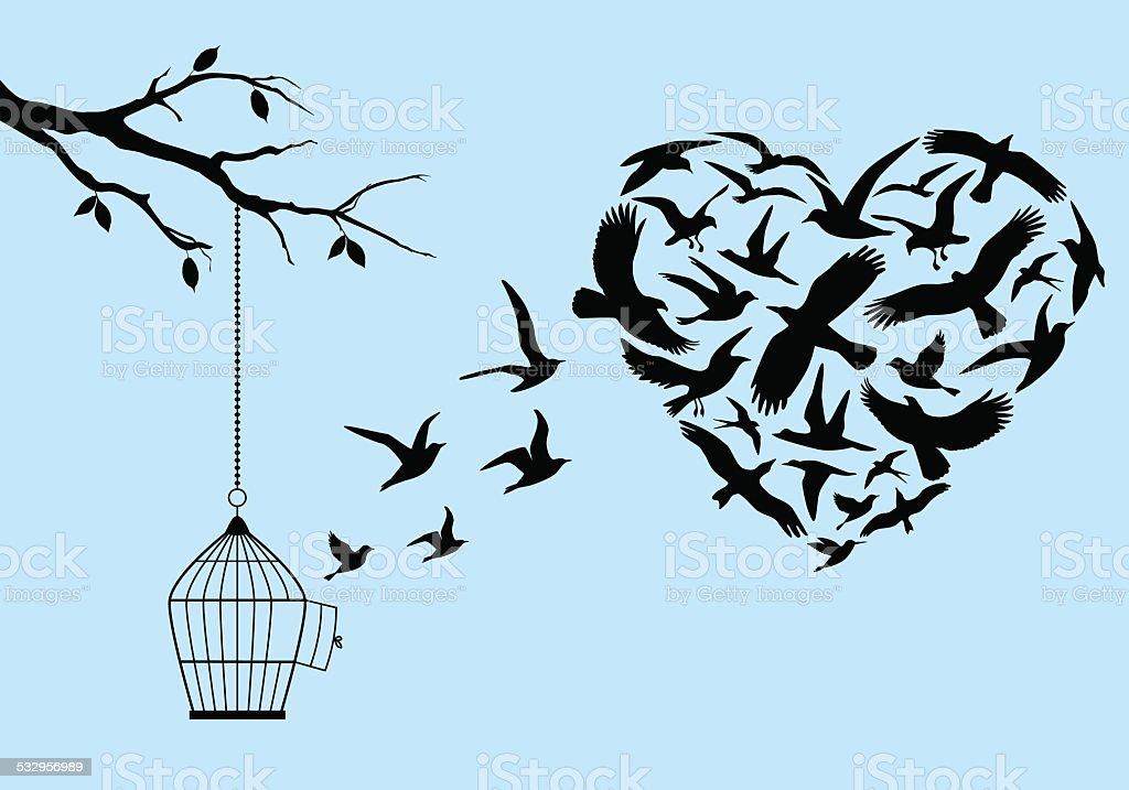 flying birds heart, vector vector art illustration