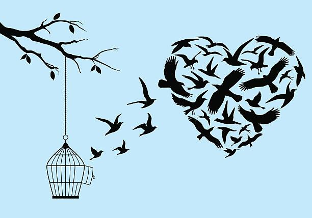 illustrations, cliparts, dessins animés et icônes de oiseaux volant coeur, illustration - dessin cage a oiseaux