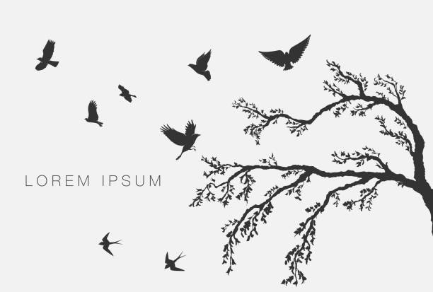 flying birds on tree branch vector art illustration