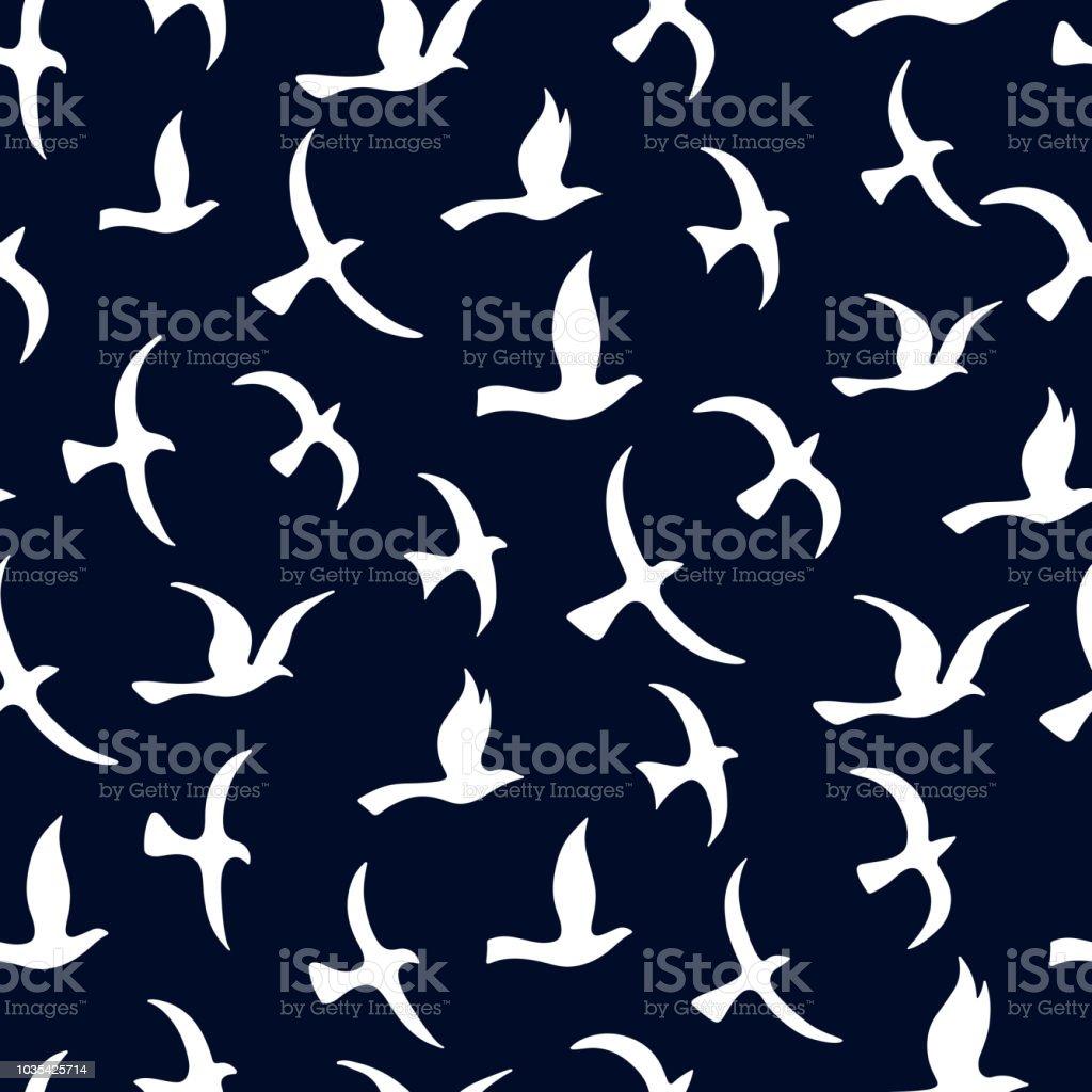 Flying birds seamless pattern. Black and white background. vector art illustration