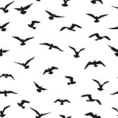 Flying birds tiled pattern. Freedom sign background. Animal wildlife