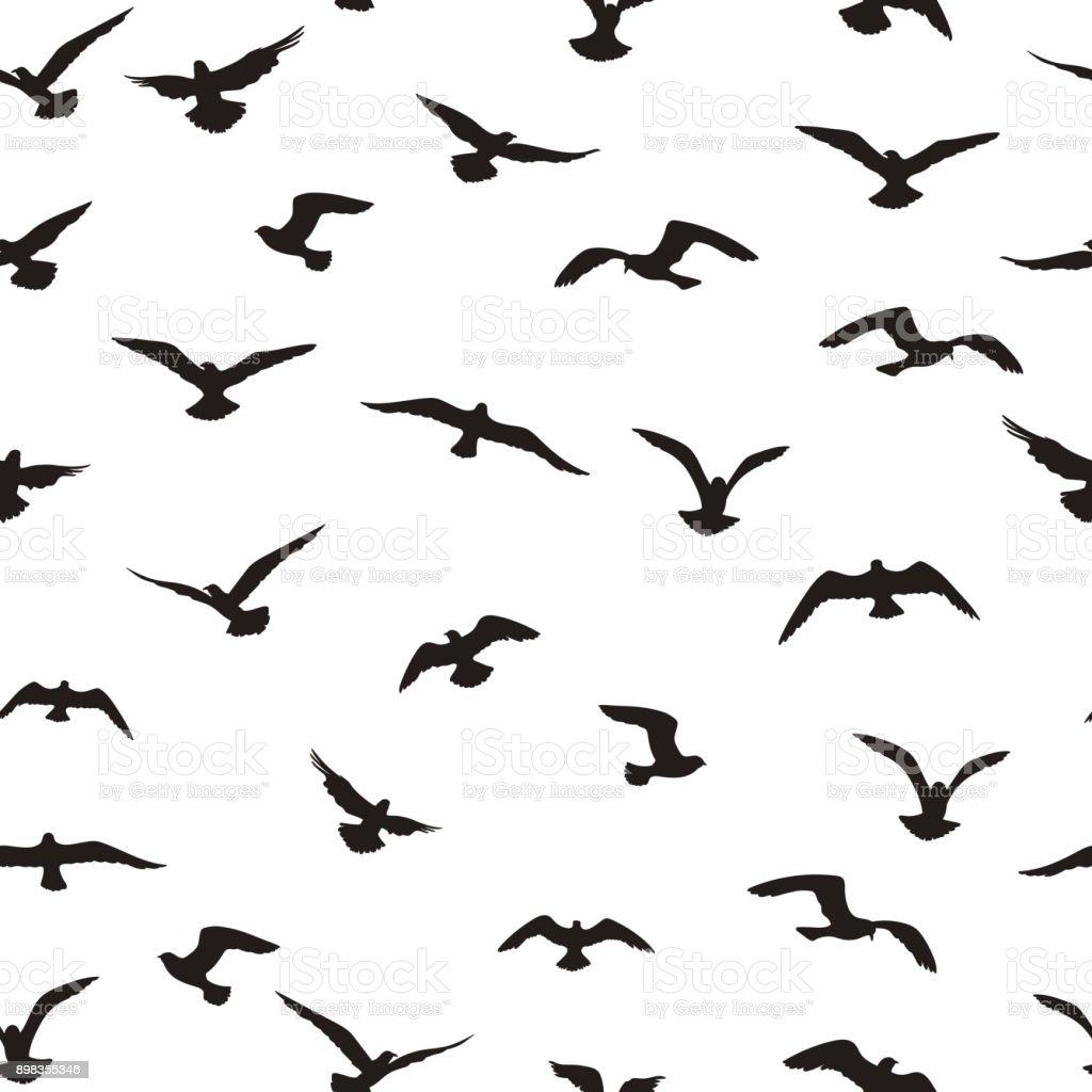Flying birds tiled pattern. Freedom sign background. Animal wildlife vector art illustration