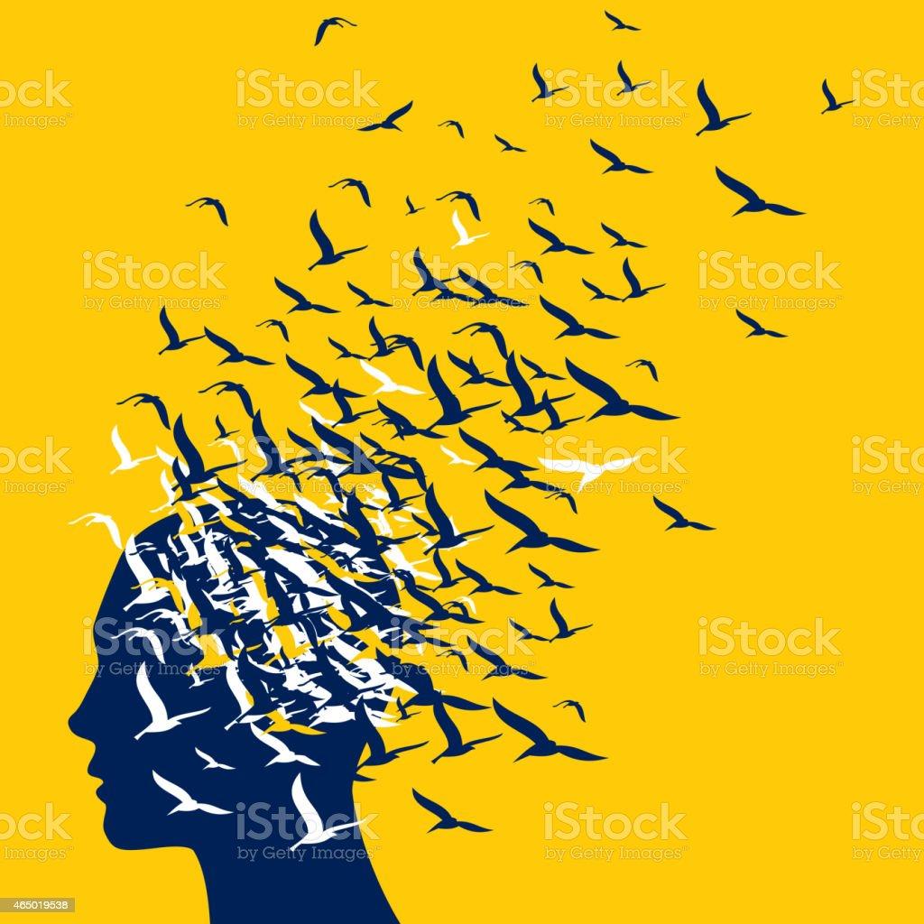 Flying birds to human head - Illustration vector art illustration