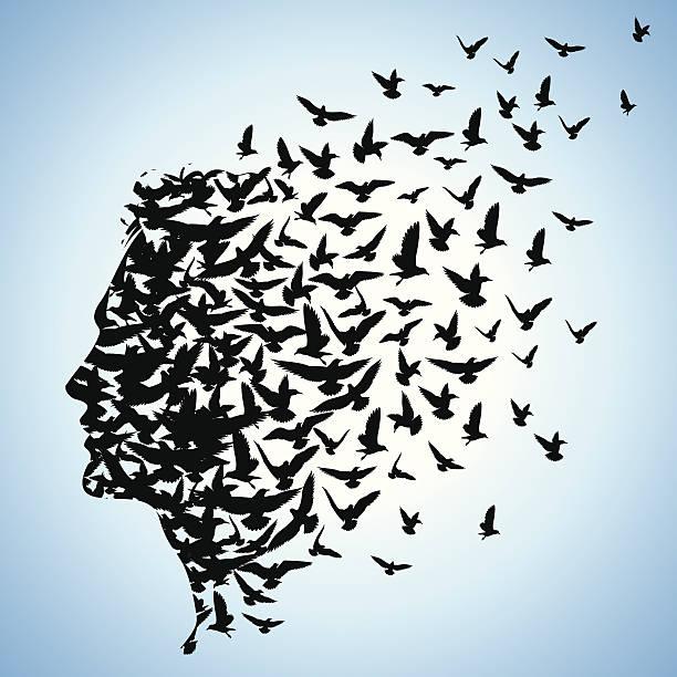 flying birds to human head flying birds to human head flock of birds stock illustrations