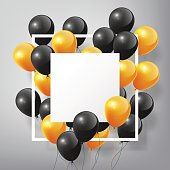 Flying black orange Balloons, square white blank frame, Halloween concept