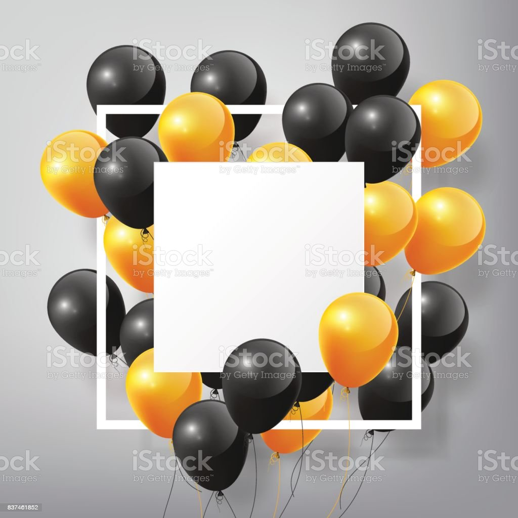 Flying black orange Balloons, square white blank frame, Halloween concept vector art illustration