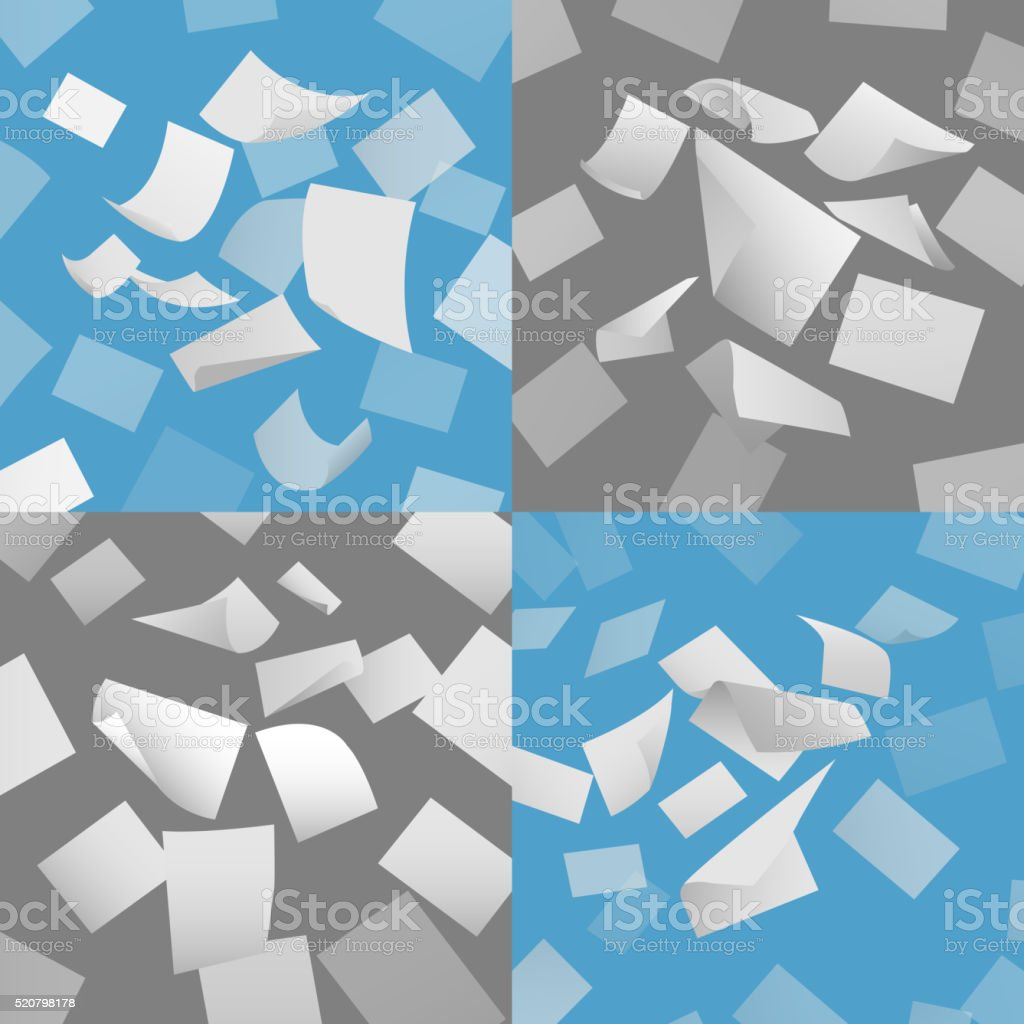 Flying blank paper sheets vector set vector art illustration