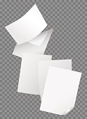 Flying blank papers isolated on transparent background vector illustration