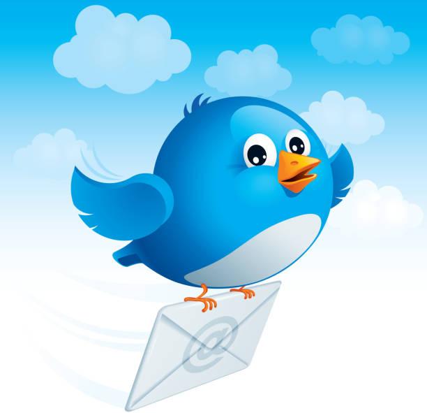 Flying blue bird with envelope vector art illustration