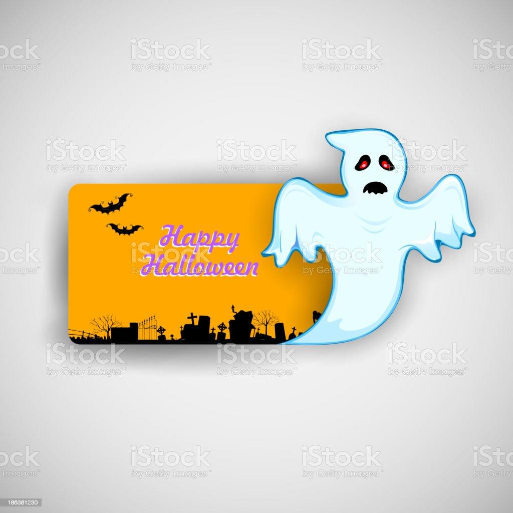 Flying Boo ghost wishing Happy Halloween royalty-free stock vector art