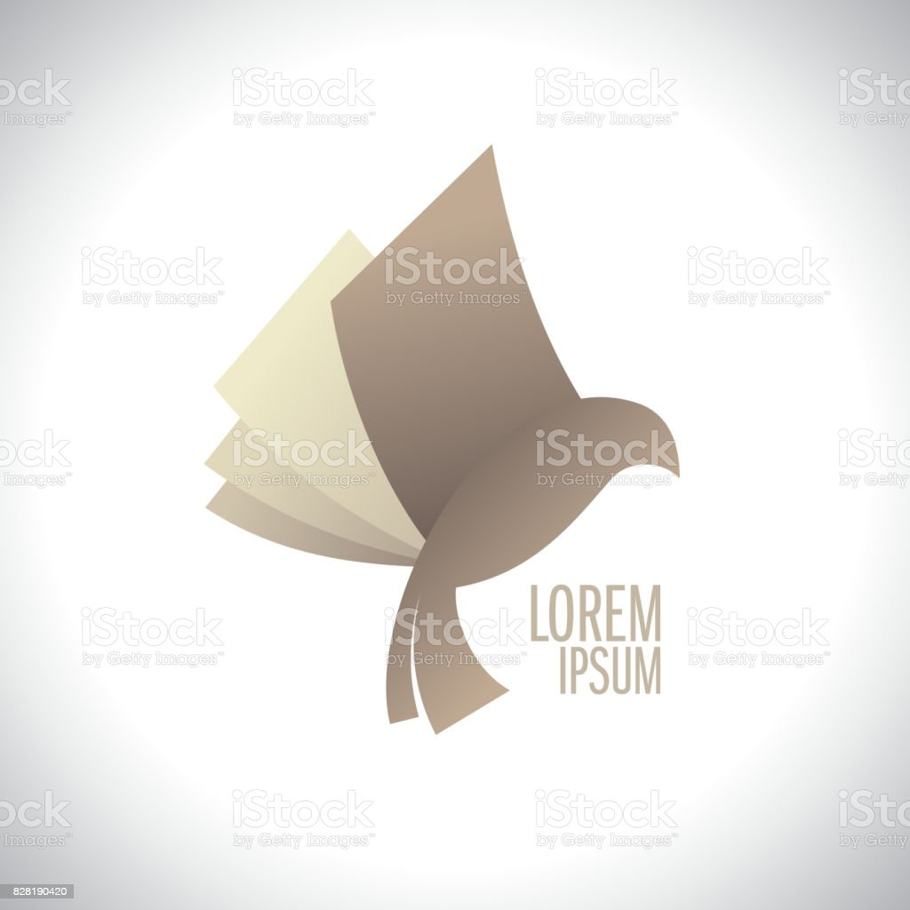 Flying book like bird logo vector art illustration