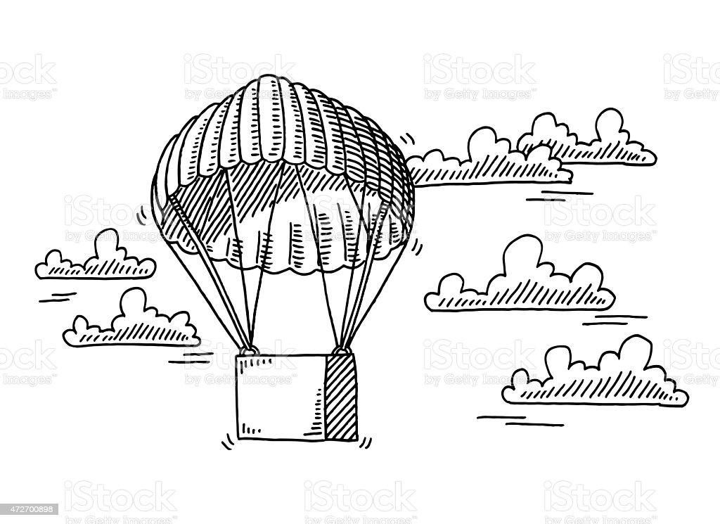 Ilustración de Caja En Paracaídas Volando En El Cielo Dibujo y más ...