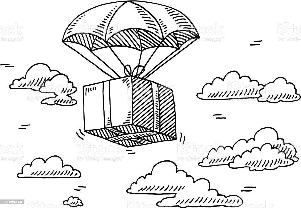 Ilustración de Caja De Vuelo Paracaídas Sky Dibujo y más banco de ...