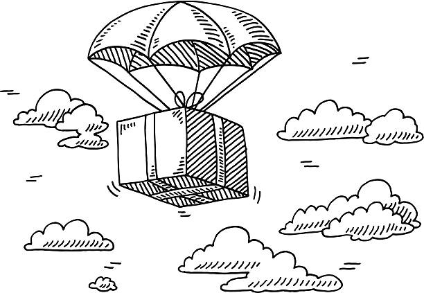 Flying Box Parachute Sky Drawing Hand-drawn vector drawing of a Flying Box on a Parachute in the Sky. Black-and-White sketch on a transparent background (.eps-file). Included files are EPS (v10) and Hi-Res JPG. environment stock illustrations