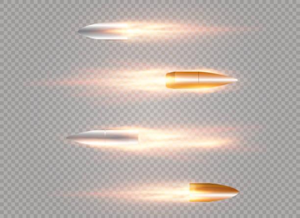 fliegende kugel mit - kopfschüsse stock-grafiken, -clipart, -cartoons und -symbole