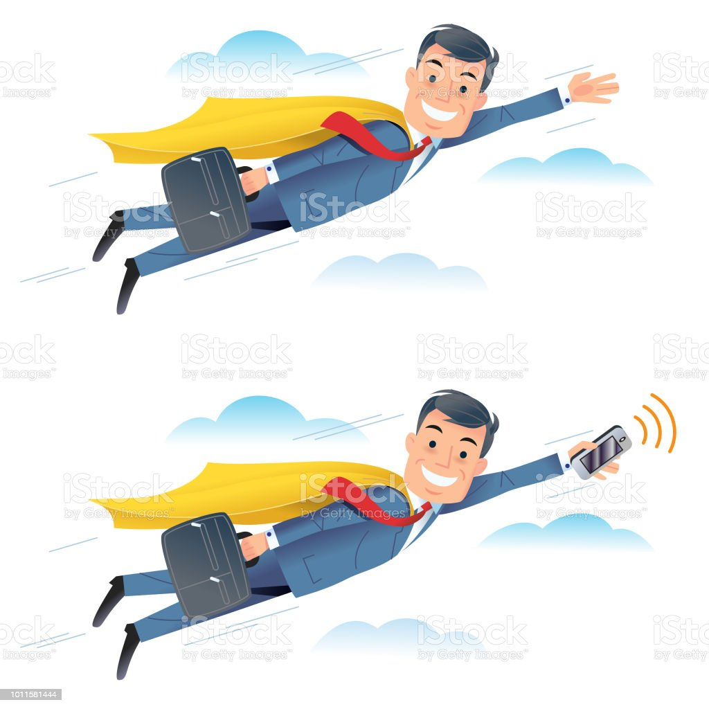 Flying Business men vector art illustration