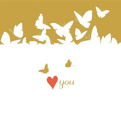 Flying butterflies card. St. Valentine's Day clipart