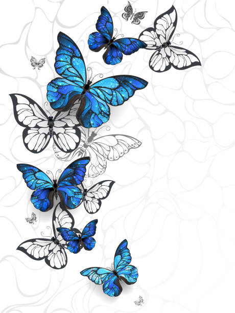 flying butterflies morpho - butterfly stock illustrations