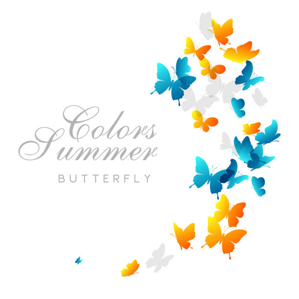 Flying butterflies. Vector decoration element. Flying blue and yellow butterflies. Vector decoration element. swarm of insects stock illustrations