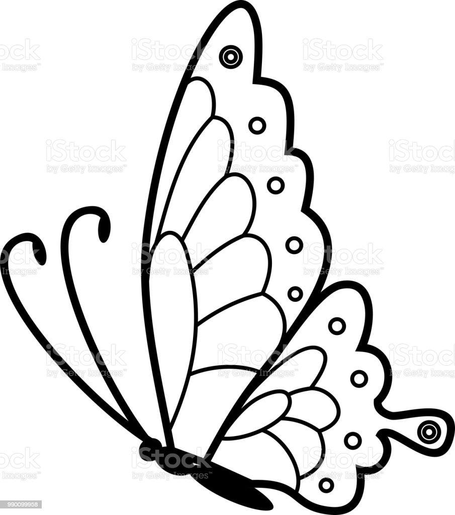 Uçan Kelebek Boyama Sayfası Stok Vektör Sanatı Beyaz Arka Fonnin