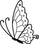 Kelebek Boyama Sayfası Oturan Stok Vektör Sanatı Beyaz Arka Fon