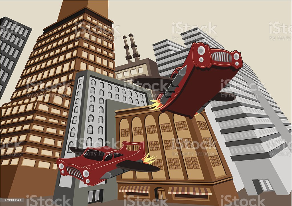 Flying Cars vector art illustration