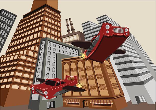 Flying Cars vector art illustration