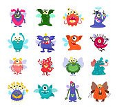 Flying cartoon monsters vector set for kids party. Flying monsters with wing, illustration monster character