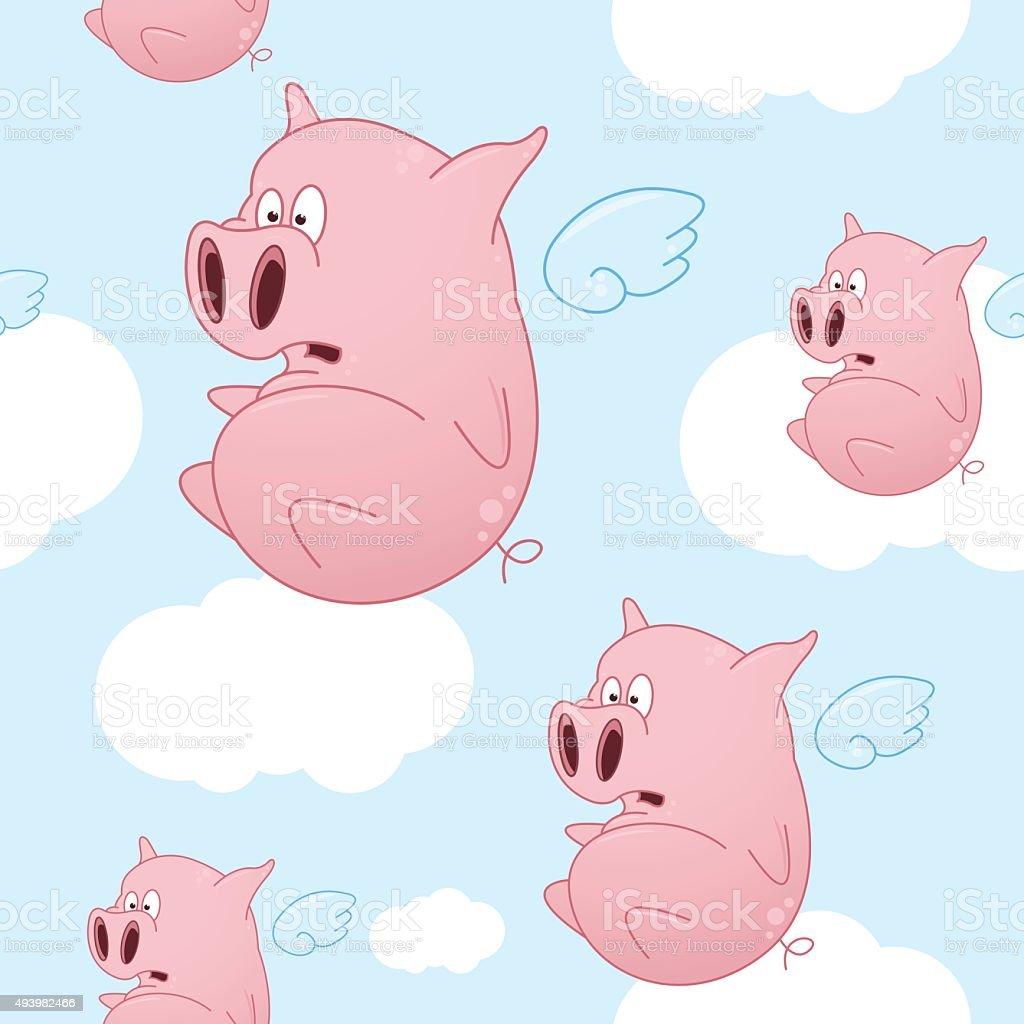 Flying Cartoon Pigs Seamless Pattern vector art illustration